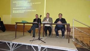 de gauche à droite, Emile CHABERT, Denis GRAS, Daniel MANTRAND, Maires respectifs de Ste Colombe de Peyre, la Chaze de Peyre et Fau de Peyre