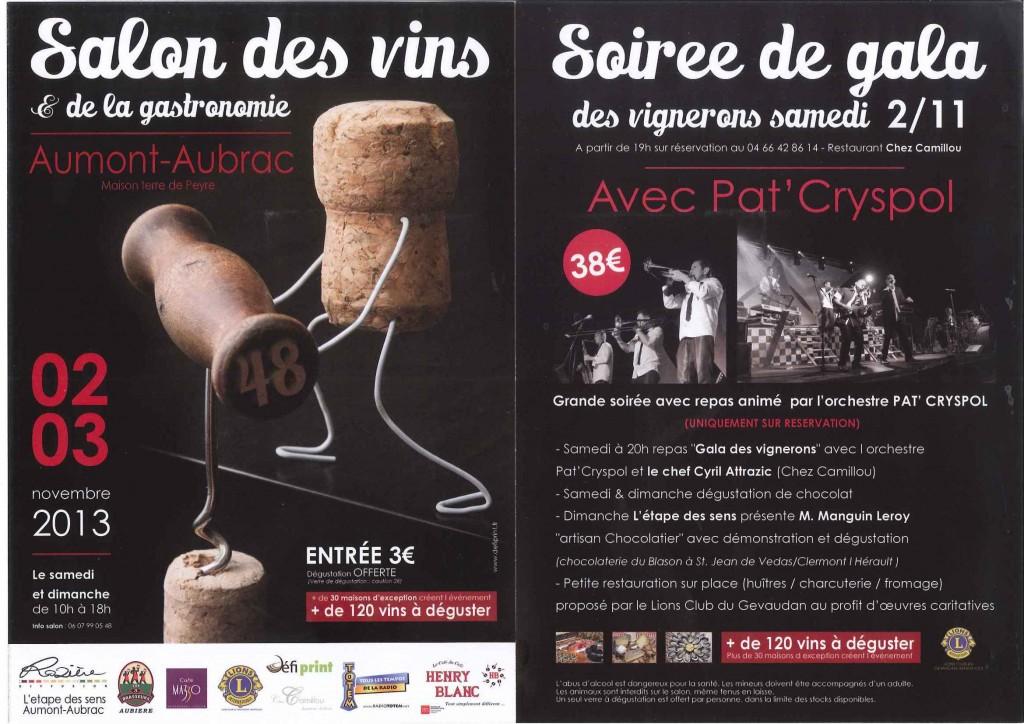 Salon des vins 2 et 3 novembre 2013 à la Maison de la TERRE de PEYRE, à Aumont-Aubrac en Lozère