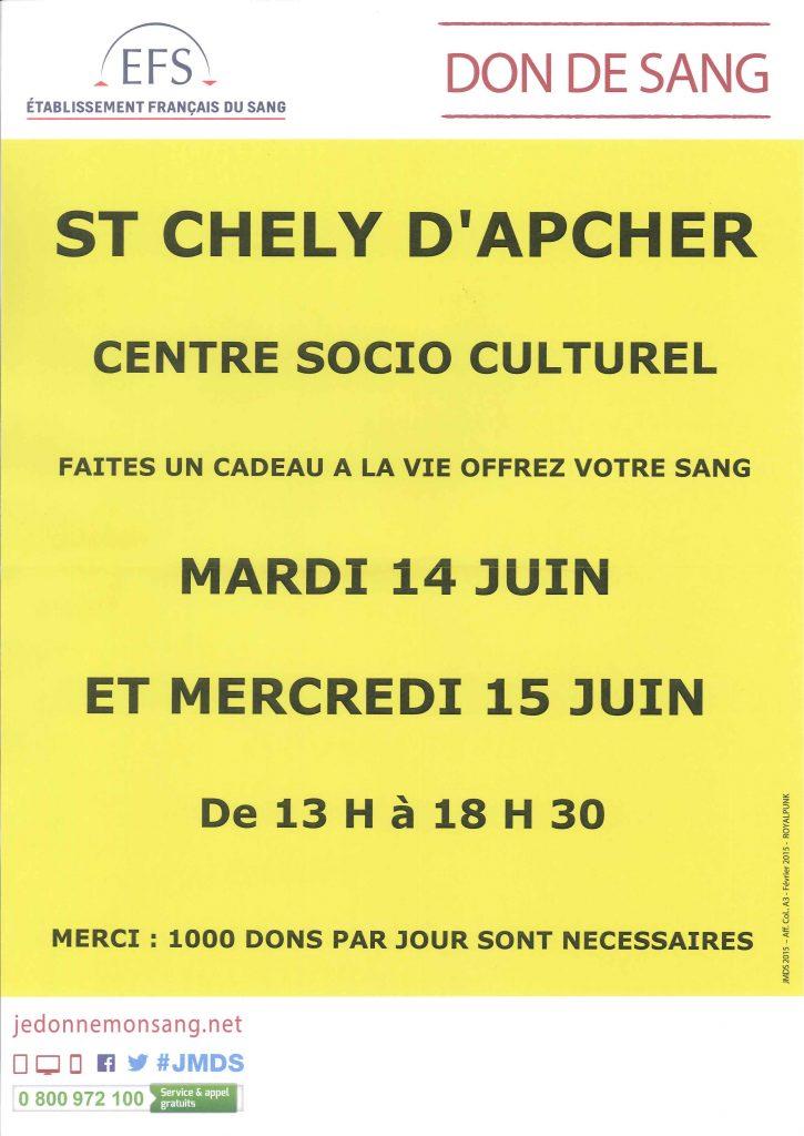 don du sang à Saint Chély d'Apcher les 14 et 15 juin 2016